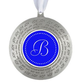 Monogrammed Round Blue/White Dot Border Pewter Ornament