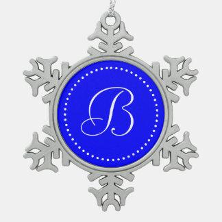 Monogrammed Round Blue/White Dot Border Snowflake Pewter Christmas Ornament