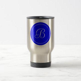 Monogrammed Round Blue/White Dot Border Travel Mug
