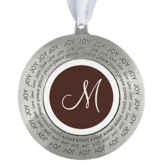Monogrammed Round Brown Monogram Border Pewter Ornament