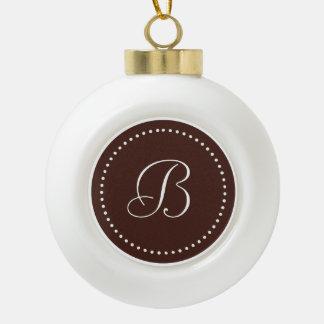Monogrammed Round Brown/White Dot Border Ceramic Ball Christmas Ornament