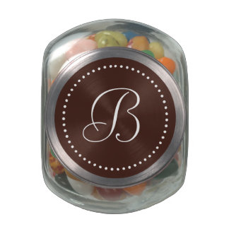 Monogrammed Round Brown/White Dot Border Jelly Belly Candy Jar