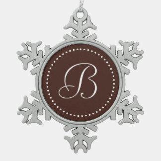 Monogrammed Round Brown/White Dot Border Snowflake Pewter Christmas Ornament