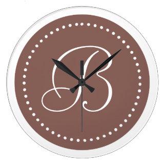 Monogrammed Round Cognac White Dot Border Wall Clock