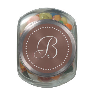 Monogrammed Round Cognac/White Dot Border Jelly Belly Candy Jar