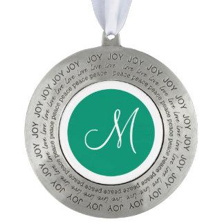 Monogrammed Round Emerald Green Monogram Border Pewter Ornament