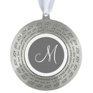 Monogrammed Round Gray Monogram Border Pewter Ornament