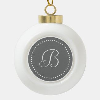 Monogrammed Round Gray/White Dot Border Ceramic Ball Christmas Ornament