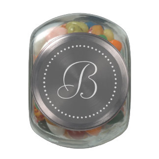 Monogrammed Round Gray/White Dot Border Glass Candy Jar
