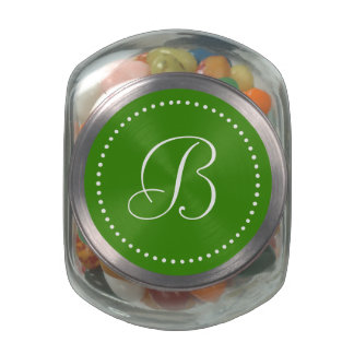 Monogrammed Round Green/White Dot Border Glass Jars