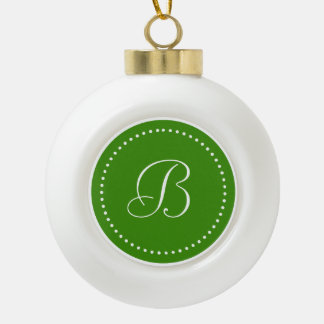 Monogrammed Round Green/White Dot Border Ceramic Ball Christmas Ornament