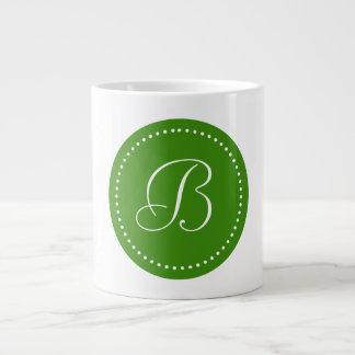 Monogrammed Round Green/White Dot Border Large Coffee Mug
