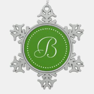 Monogrammed Round Green/White Dot Border Snowflake Pewter Christmas Ornament