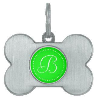 Monogrammed Round Lime Green/White Dot Border Pet Tag