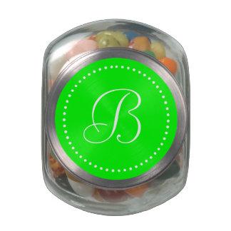 Monogrammed Round Lime/White Dot Border Glass Candy Jar