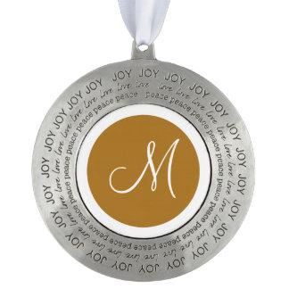 Monogrammed Round Matte Gold Monogram Border Ornament