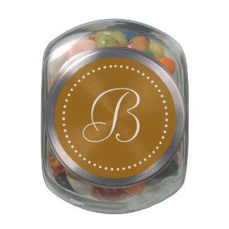 Monogrammed Round Matte Gold/White Dot Border Glass Jar