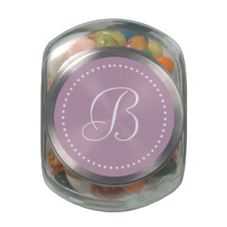 Monogrammed Round Mauve Mist/White Dot Border Jelly Belly Candy Jar