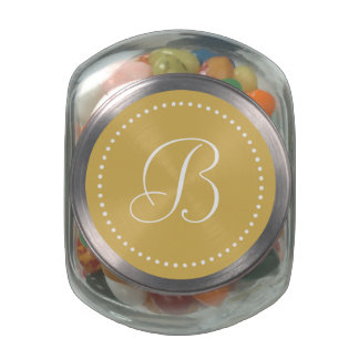 Monogrammed Round Misted Yellow/White Dot Border Glass Candy Jars