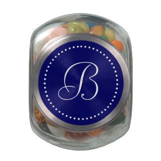Monogrammed Round Navy/White Dot Border Glass Candy Jar