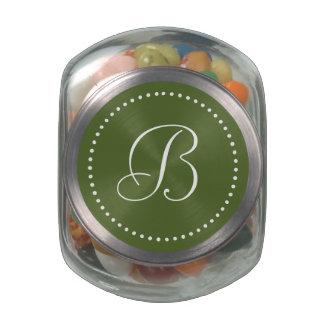 Monogrammed Round Olive Green/White Dot Border Glass Candy Jar