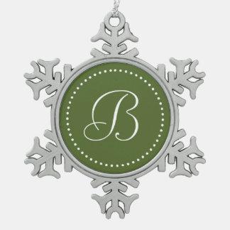 Monogrammed Round Olive Green/White Dot Border Snowflake Pewter Christmas Ornament