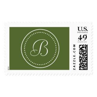 Monogrammed Round Olive Green/White Dot Border Stamp