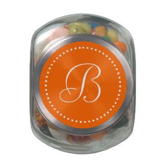 Monogrammed Round Orange/White Dot Border Glass Jar