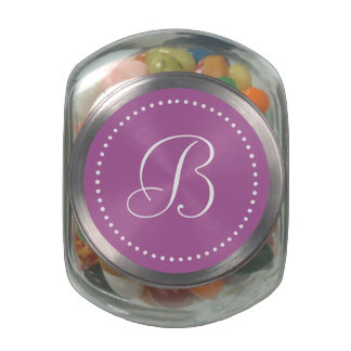 Monogrammed Round Orchid/White Dot Border Glass Candy Jar