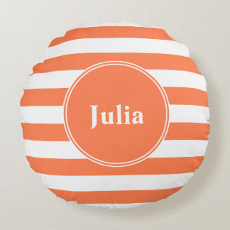 Monogrammed Round Pillow, White on Coral Round Pillow