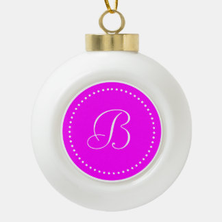 Monogrammed Round Pink/White Dot Border Ceramic Ball Christmas Ornament