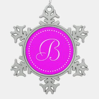 Monogrammed Round Pink/White Dot Border Snowflake Pewter Christmas Ornament