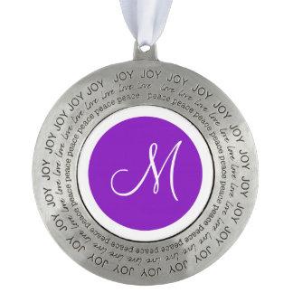Monogrammed Round Purple Monogram Border Pewter Ornament