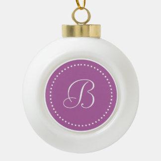 Monogrammed Round Radiant Orchid White Dot Border Ornament