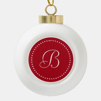 Monogrammed Round Red/White Dot Border Ceramic Ball Christmas Ornament