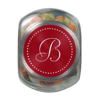 Monogrammed Round Red/White Dot Border Glass Jars