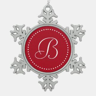 Monogrammed Round Red/White Dot Border Snowflake Pewter Christmas Ornament