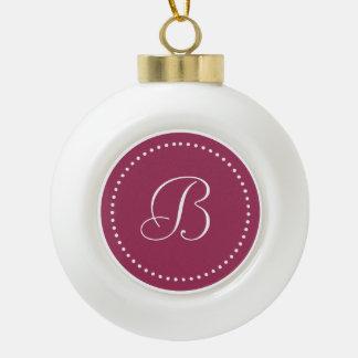 Monogrammed Round Sangria/White Dot Border Ceramic Ball Christmas Ornament