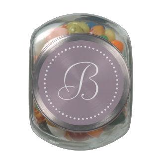 Monogrammed Round Sea Fog/White Dot Border Glass Candy Jars