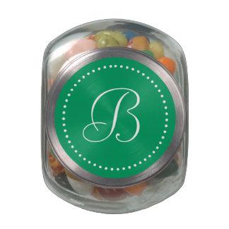 Monogrammed Round Shamrock Green/White Dot Border Glass Jar