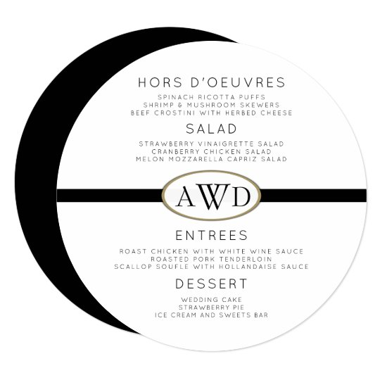 Monogrammed Round Wedding Menu Template