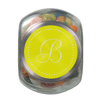 Monogrammed Round Yellow/White Dot Border Glass Candy Jar