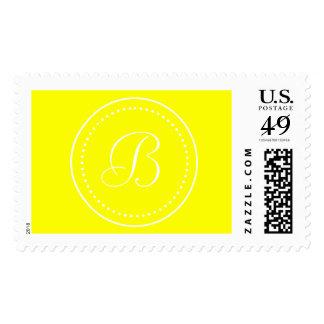 Monogrammed Round Yellow/White Dot Border Postage