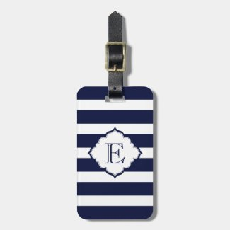 Monogrammed Royal Blue Stripes Geometric Pattern