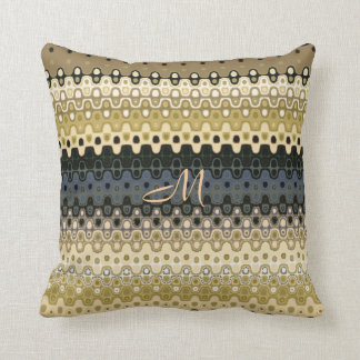 Monogrammed Ruffled Stripes Design Throw Pillow