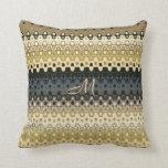 Monogrammed Ruffled Stripes Design Throw Pillow