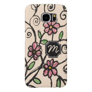 Monogrammed Rustic Floral Pattern Samsung Galaxy S6 Cases
