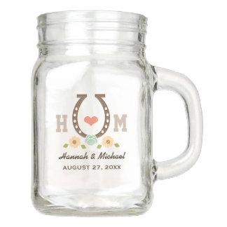 Monogrammed Rustic Western Horseshoe Heart Wedding Mason Jar