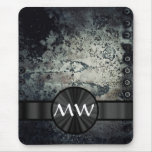 Monogrammed rusty metal mouse pad