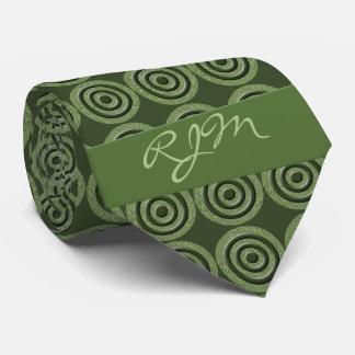 Monogrammed Sage Green Circles Necktie